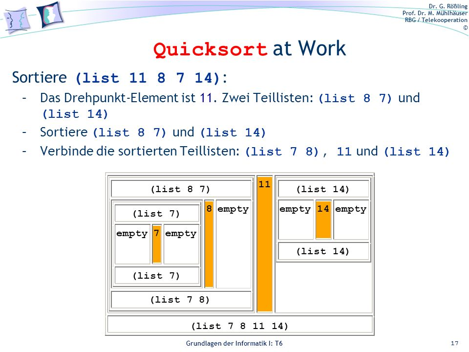Quicksort at Work Sortiere (list ):