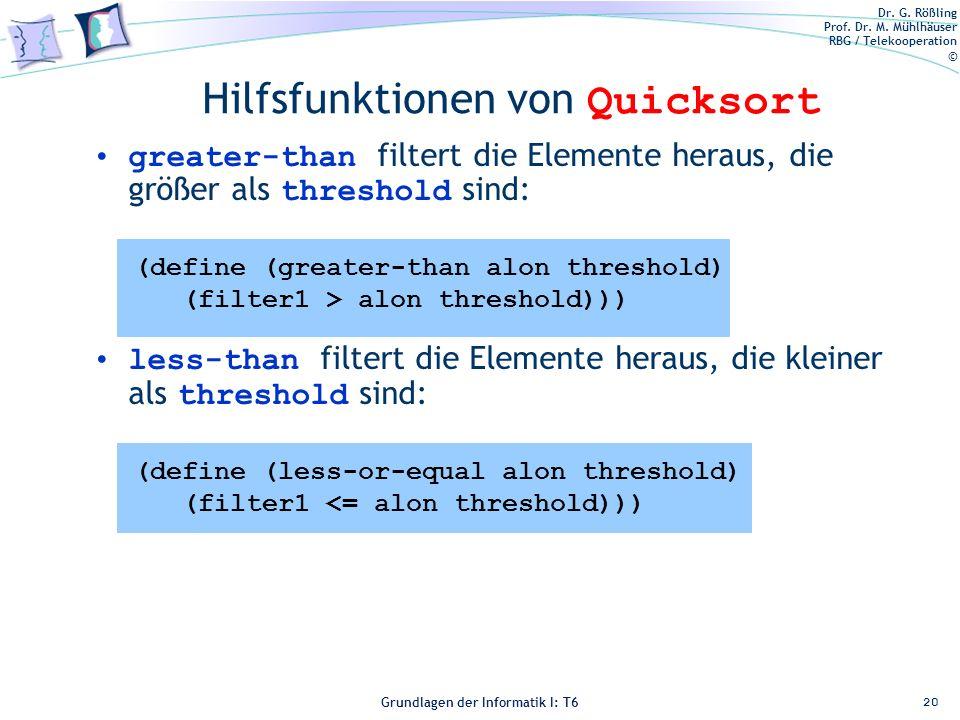 Hilfsfunktionen von Quicksort