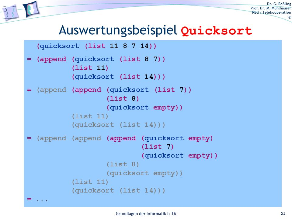 Auswertungsbeispiel Quicksort