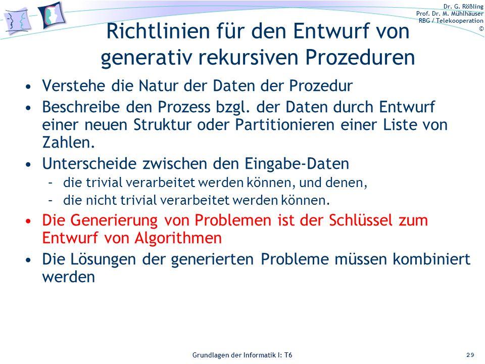 Richtlinien für den Entwurf von generativ rekursiven Prozeduren