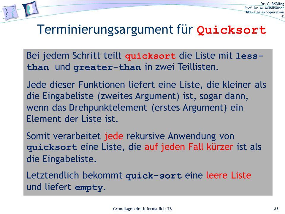 Terminierungsargument für Quicksort