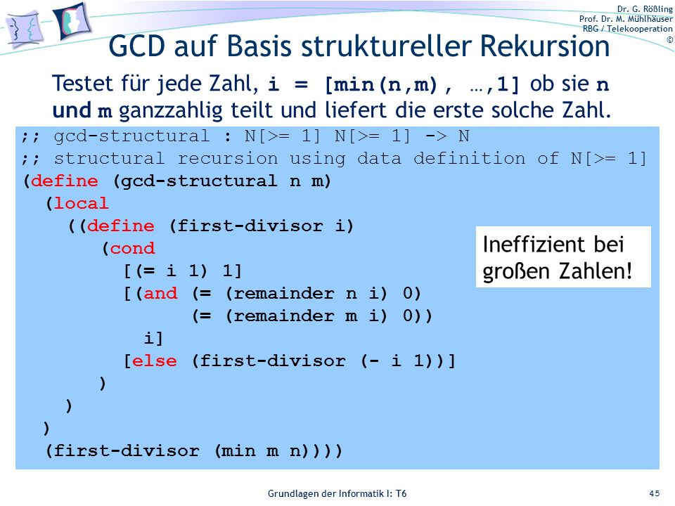 GCD auf Basis struktureller Rekursion