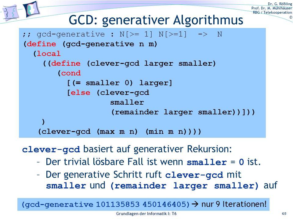 GCD: generativer Algorithmus