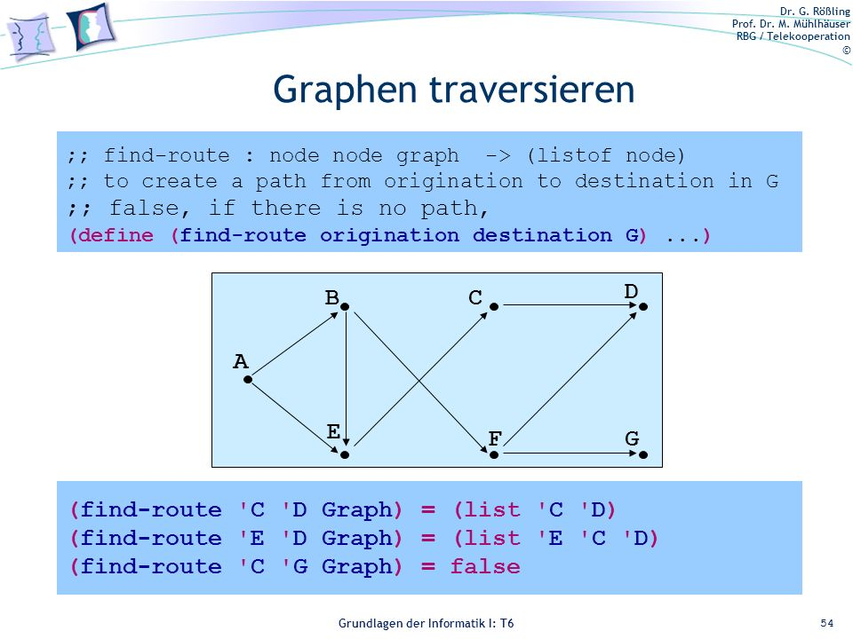 Graphen traversieren ;; false, if there is no path, A B E C F D G