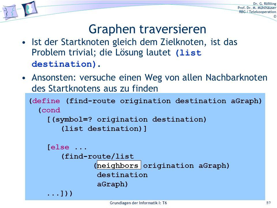 Graphen traversieren Ist der Startknoten gleich dem Zielknoten, ist das Problem trivial; die Lösung lautet (list destination).
