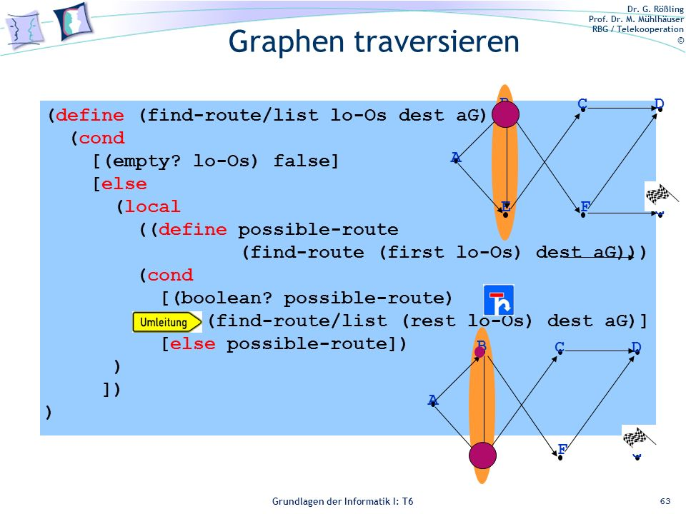 Graphen traversieren (define (find-route/list lo-Os dest aG) (cond