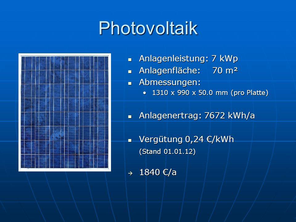 Photovoltaik Anlagenleistung: 7 kWp Anlagenfläche: 70 m² Abmessungen: