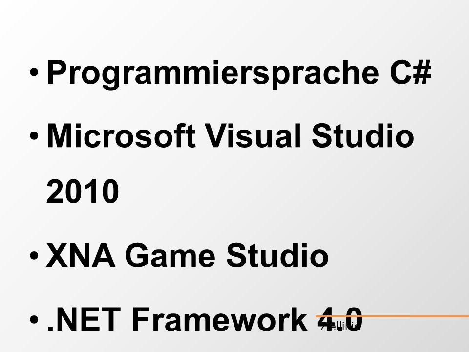 Programmiersprache C# Microsoft Visual Studio 2010 XNA Game Studio