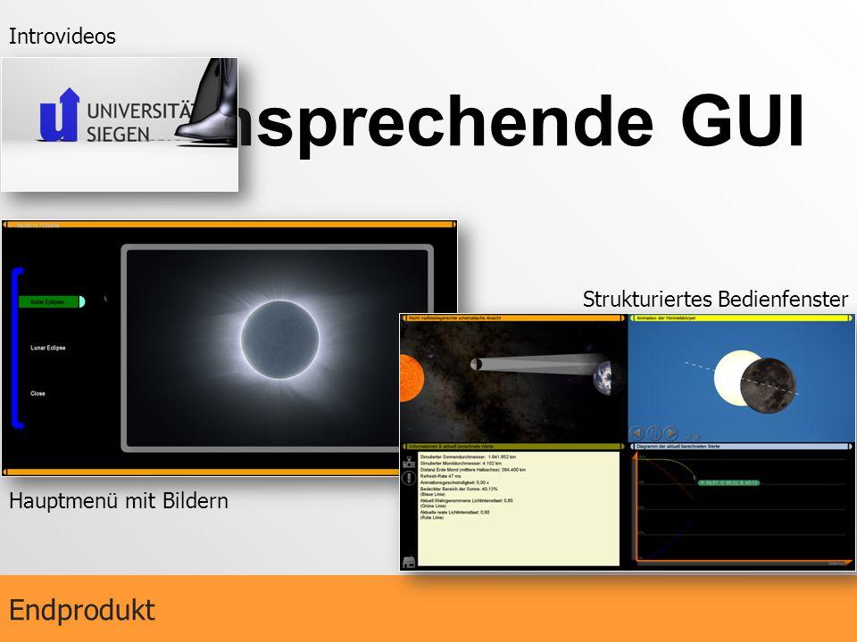 Ansprechende GUI Endprodukt Introvideos Strukturiertes Bedienfenster