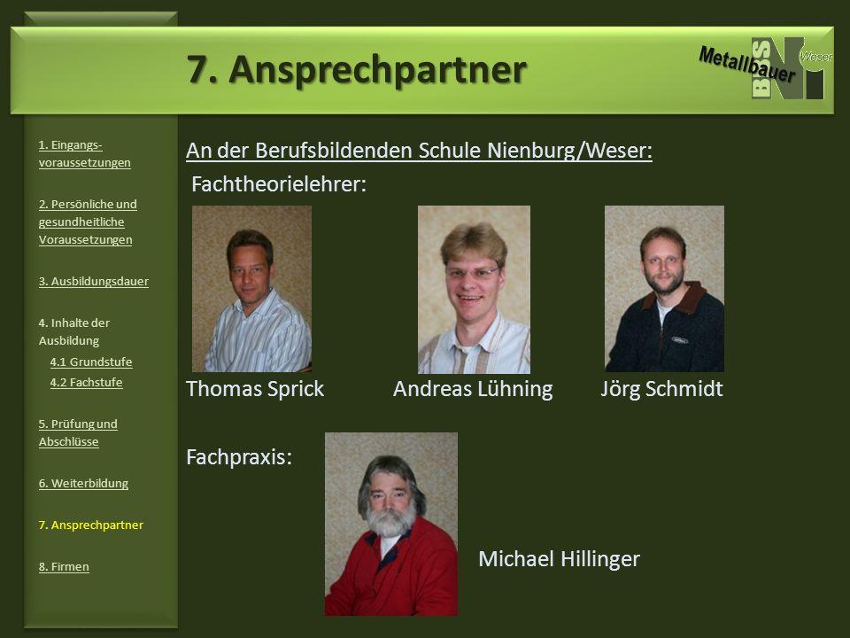 7. Ansprechpartner An der Berufsbildenden Schule Nienburg/Weser: