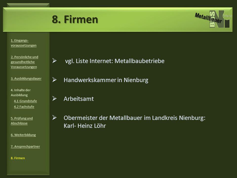8. Firmen vgl. Liste Internet: Metallbaubetriebe
