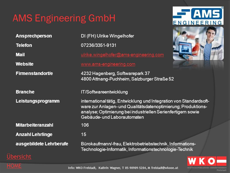AMS Engineering GmbH Ansprechperson DI (FH) Ulrike Wingelhofer Telefon