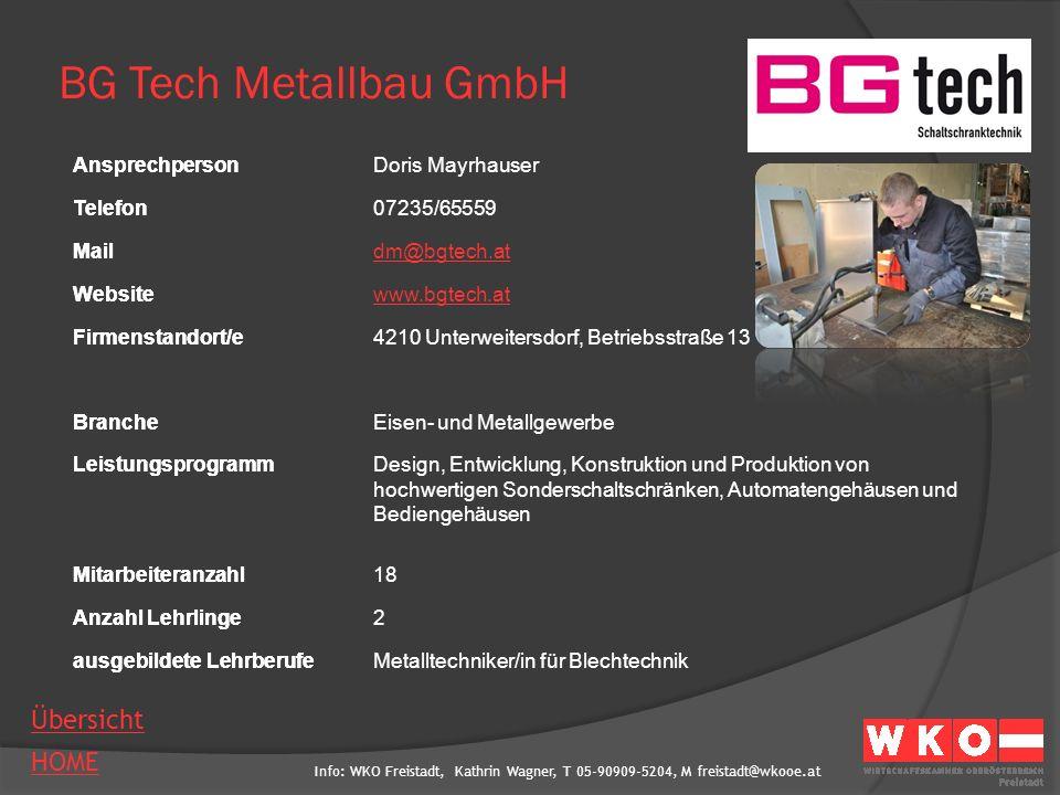 BG Tech Metallbau GmbH Ansprechperson Doris Mayrhauser Telefon