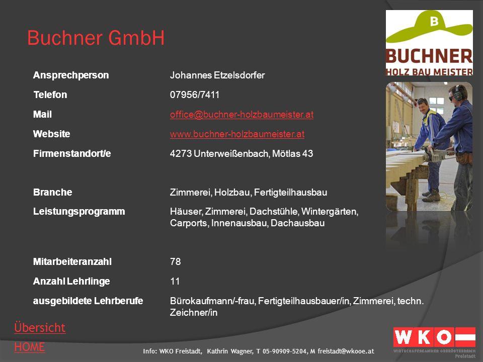 Buchner GmbH Ansprechperson Johannes Etzelsdorfer Telefon 07956/7411