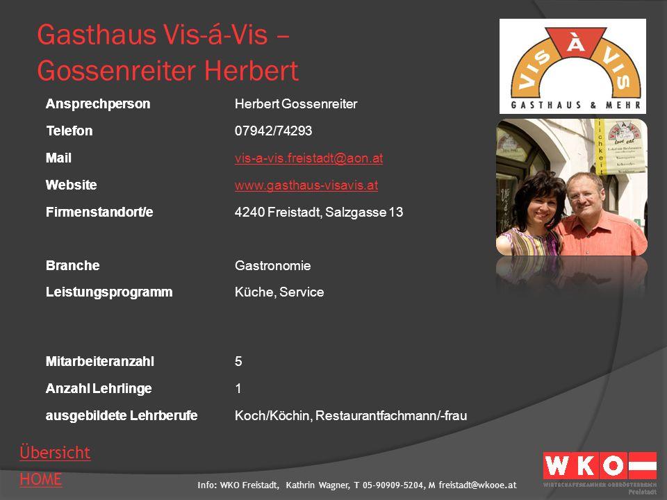 Gasthaus Vis-á-Vis – Gossenreiter Herbert
