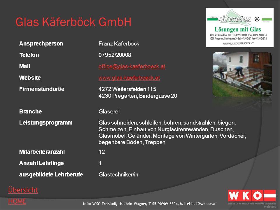 Glas Käferböck GmbH Ansprechperson Franz Käferböck Telefon 07952/20008