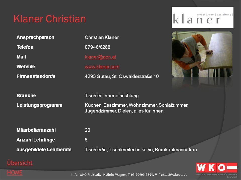 Klaner Christian Ansprechperson Christian Klaner Telefon 07946/6268