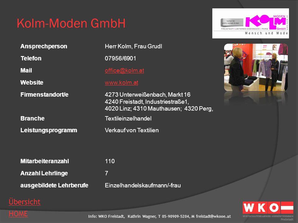 Kolm-Moden GmbH Ansprechperson Herr Kolm, Frau Grudl Telefon