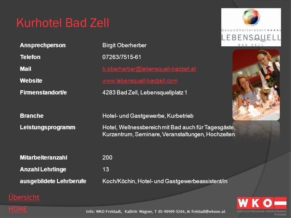 Kurhotel Bad Zell Ansprechperson Birgit Oberherber Telefon