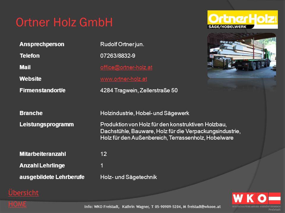 Ortner Holz GmbH Ansprechperson Rudolf Ortner jun. Telefon