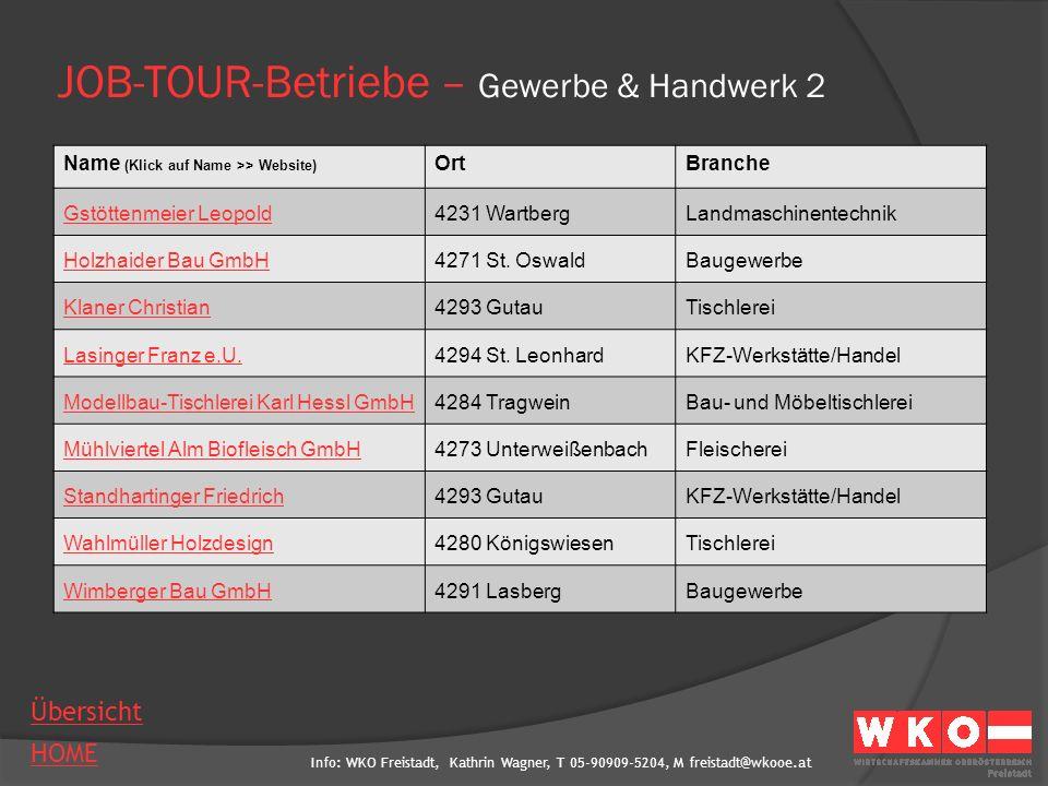 JOB-TOUR-Betriebe – Gewerbe & Handwerk 2