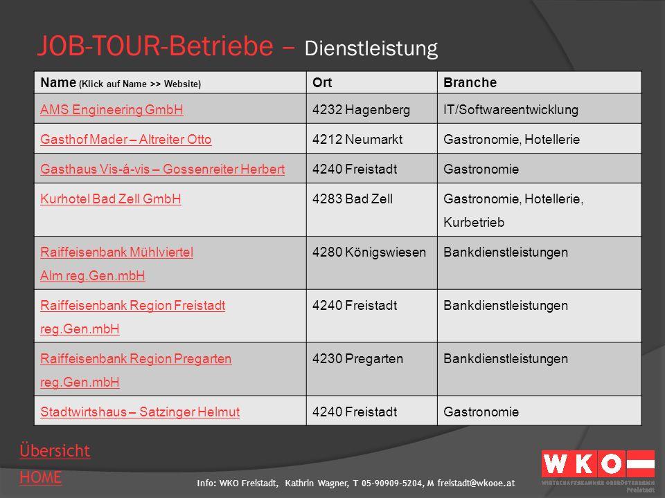 JOB-TOUR-Betriebe – Dienstleistung