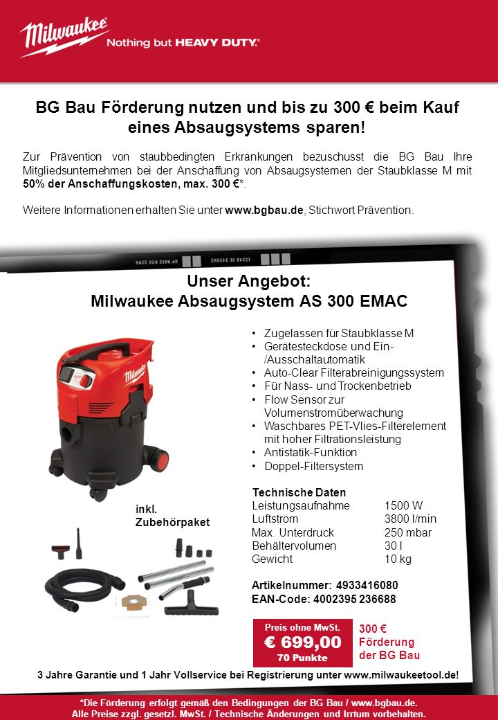 Milwaukee Absaugsystem AS 300 EMAC