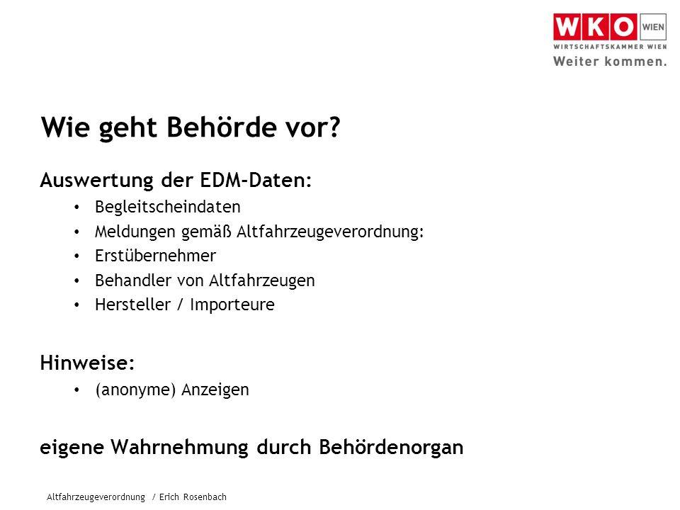 Wie geht Behörde vor Auswertung der EDM-Daten: Hinweise: