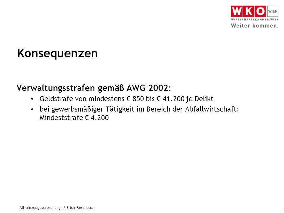 Konsequenzen Verwaltungsstrafen gemäß AWG 2002: