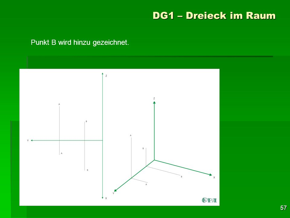 DG1 – Dreieck im Raum Punkt B wird hinzu gezeichnet.
