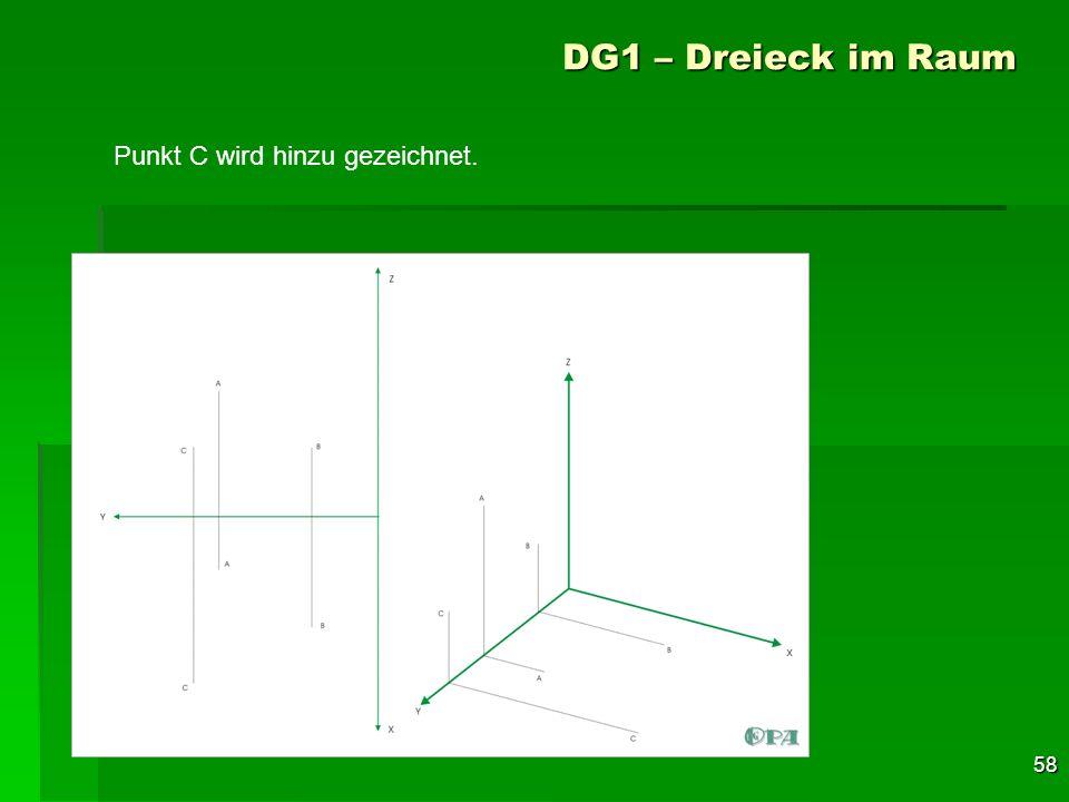DG1 – Dreieck im Raum Punkt C wird hinzu gezeichnet.