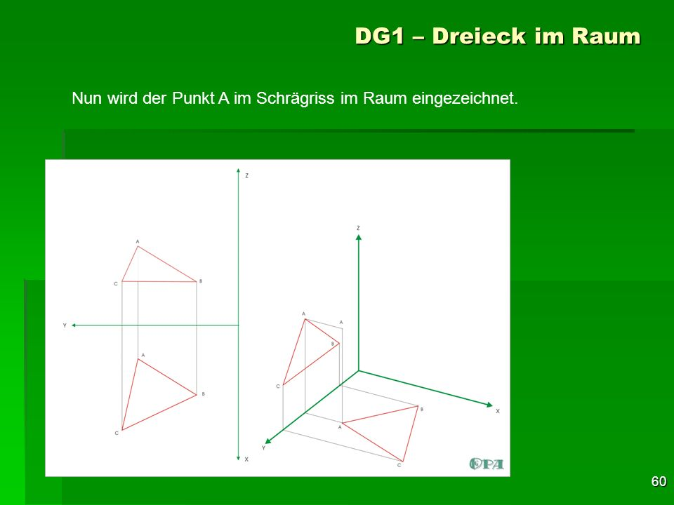 DG1 – Dreieck im Raum Nun wird der Punkt A im Schrägriss im Raum eingezeichnet.