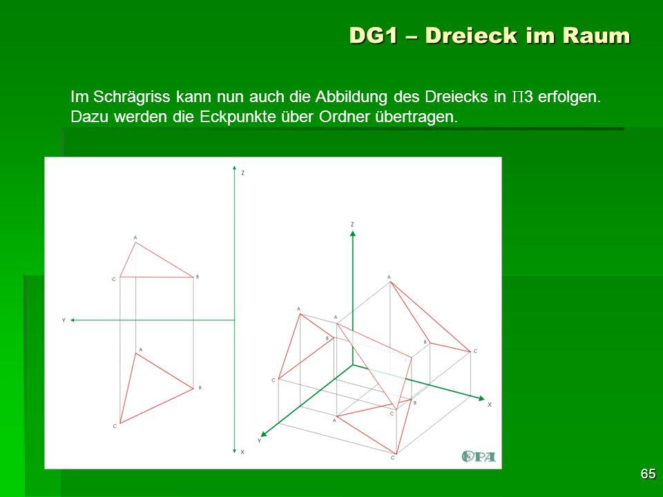 DG1 – Dreieck im RaumIm Schrägriss kann nun auch die Abbildung des Dreiecks in P3 erfolgen.