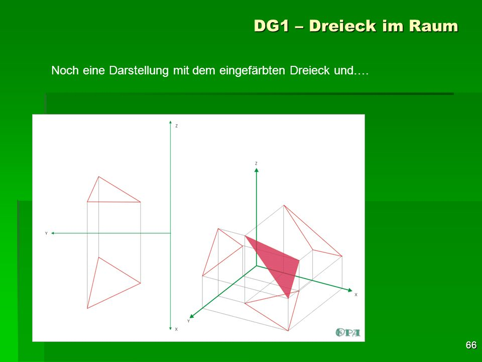 DG1 – Dreieck im Raum Noch eine Darstellung mit dem eingefärbten Dreieck und….