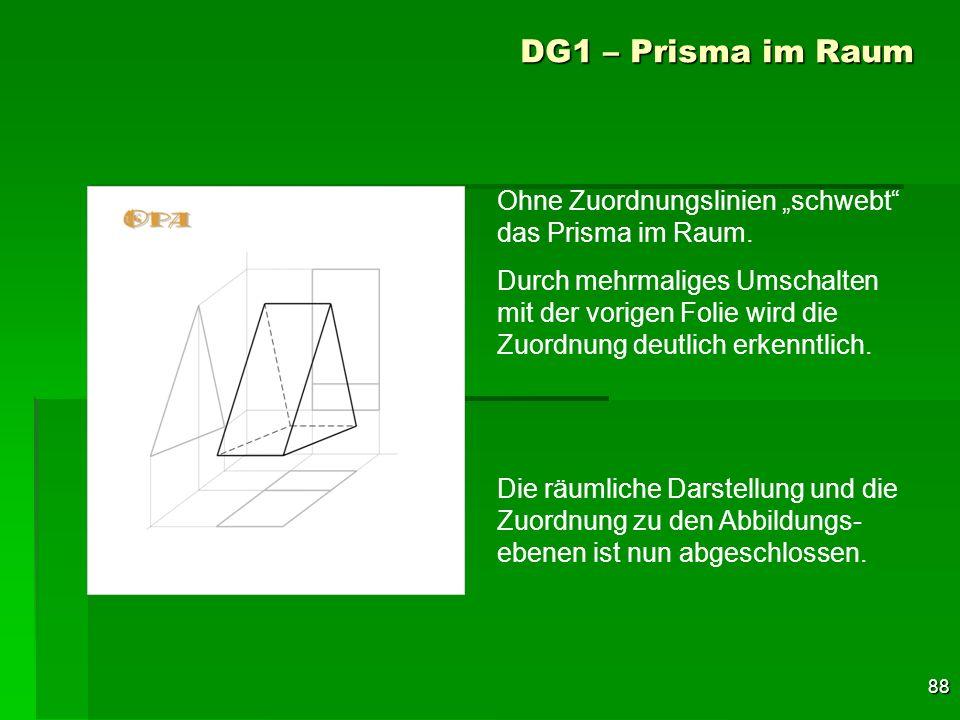 """DG1 – Prisma im Raum Ohne Zuordnungslinien """"schwebt das Prisma im Raum."""