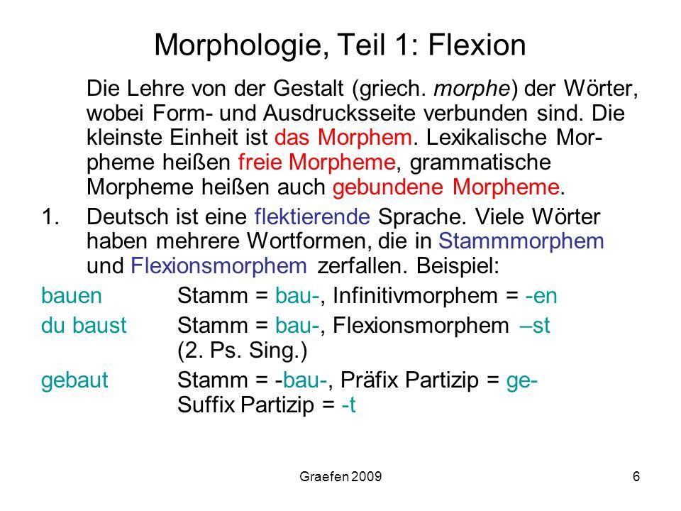 Morphologie, Teil 1: Flexion