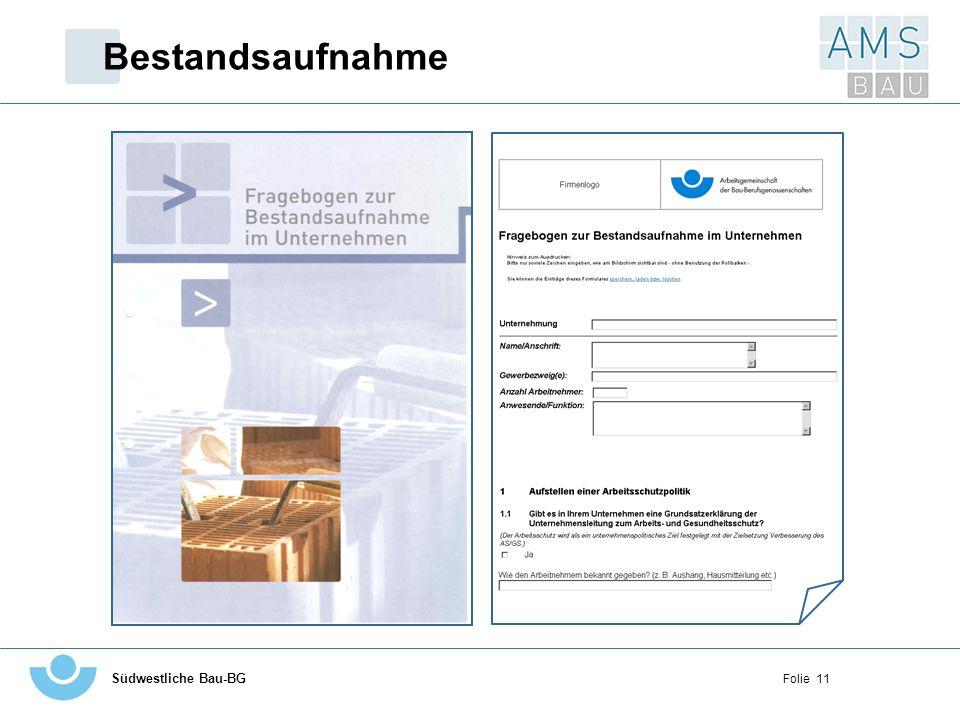 Bestandsaufnahme Linke Seite - Deckblatt des Fragebogens zur Bestandsaufnahme im Unternehmen (so wie im Ordner)