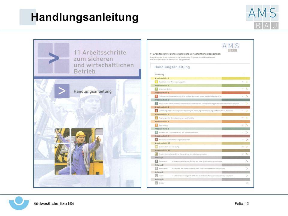 Handlungsanleitung Linke Seite - Deckblatt zur Handlungsanleitung aus dem Ordner. Rechte Seite - Inhaltsverzeichnis der Handlungsanleitung.
