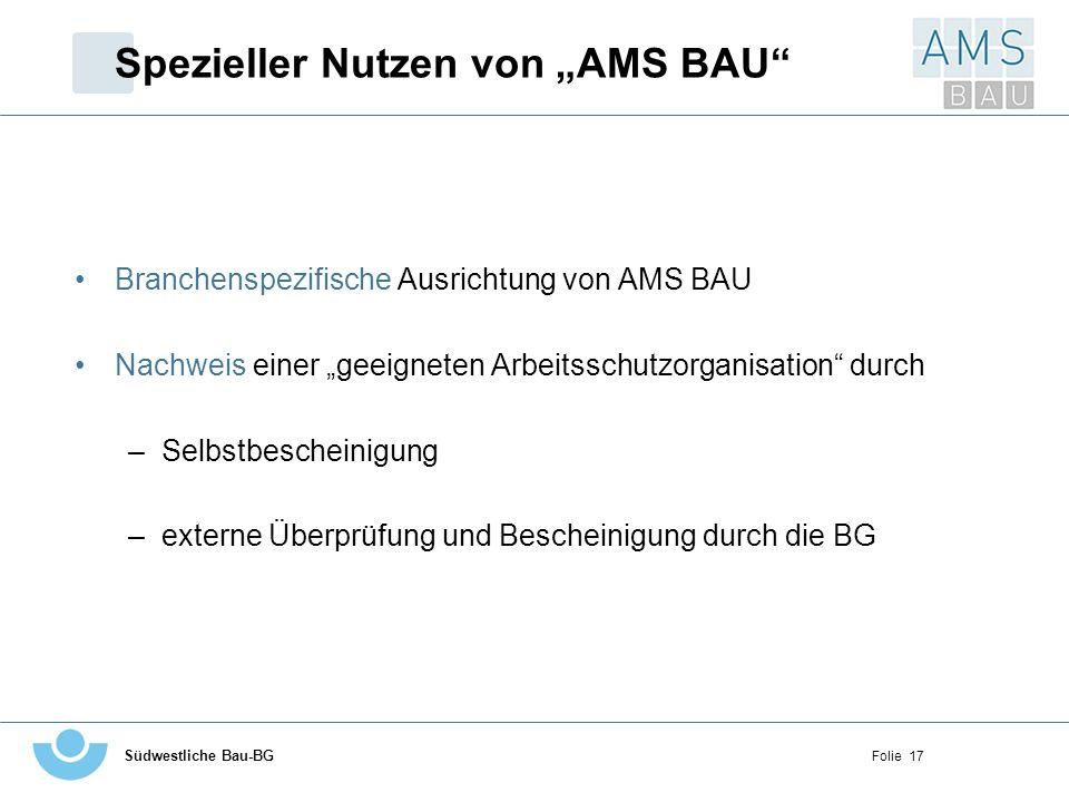 """Spezieller Nutzen von """"AMS BAU"""