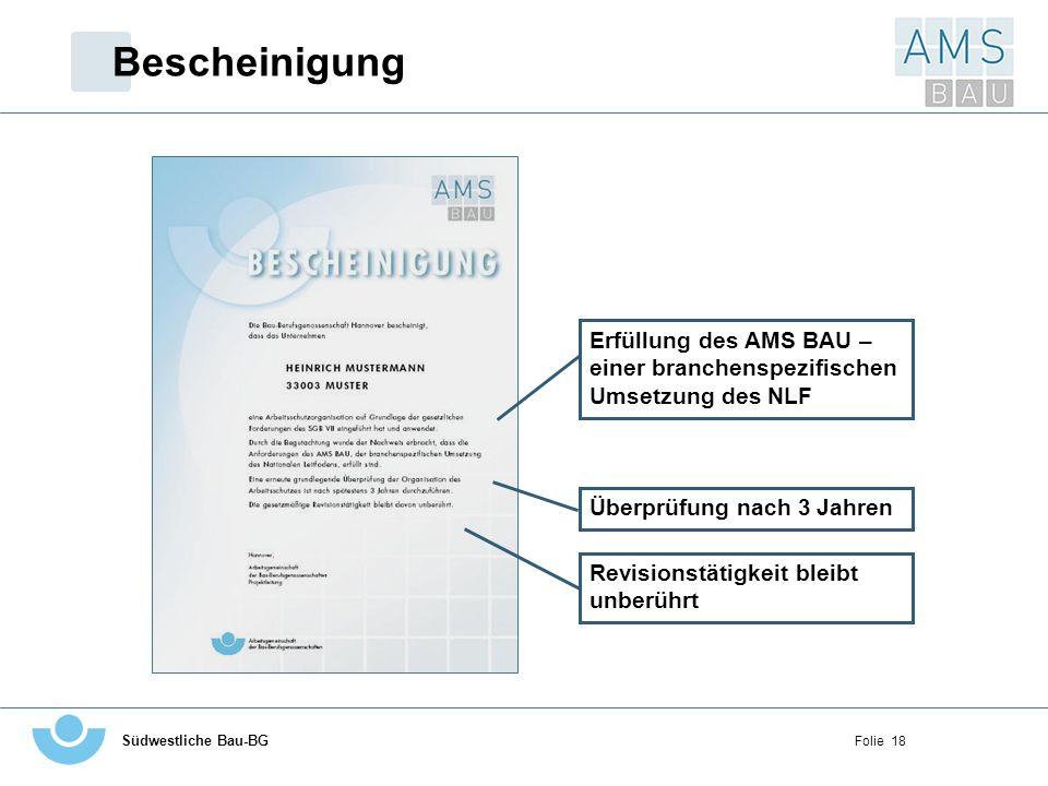 Bescheinigung Erfüllung des AMS BAU – einer branchenspezifischen Umsetzung des NLF. Überprüfung nach 3 Jahren.