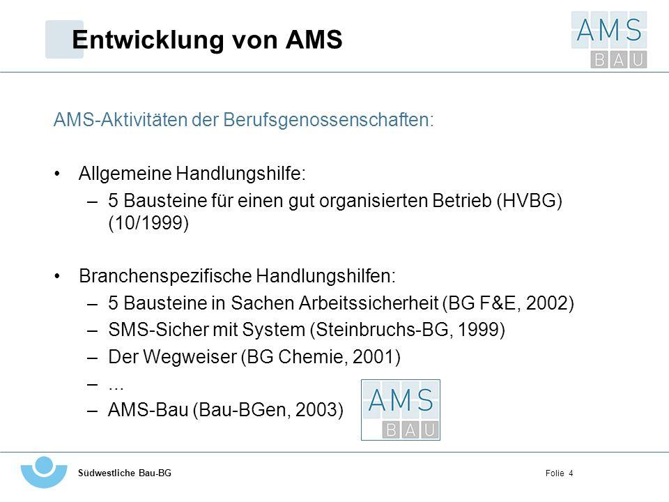 Entwicklung von AMS AMS-Aktivitäten der Berufsgenossenschaften: