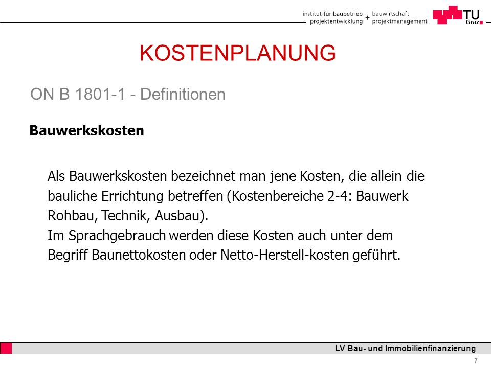 KOSTENPLANUNG ON B 1801-1 - Definitionen Bauwerkskosten