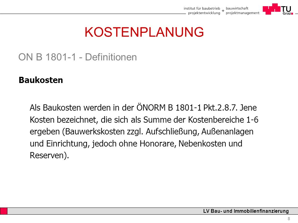 KOSTENPLANUNG ON B 1801-1 - Definitionen Baukosten