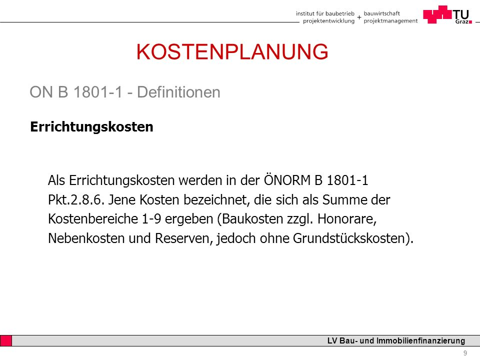 KOSTENPLANUNG ON B 1801-1 - Definitionen Errichtungskosten