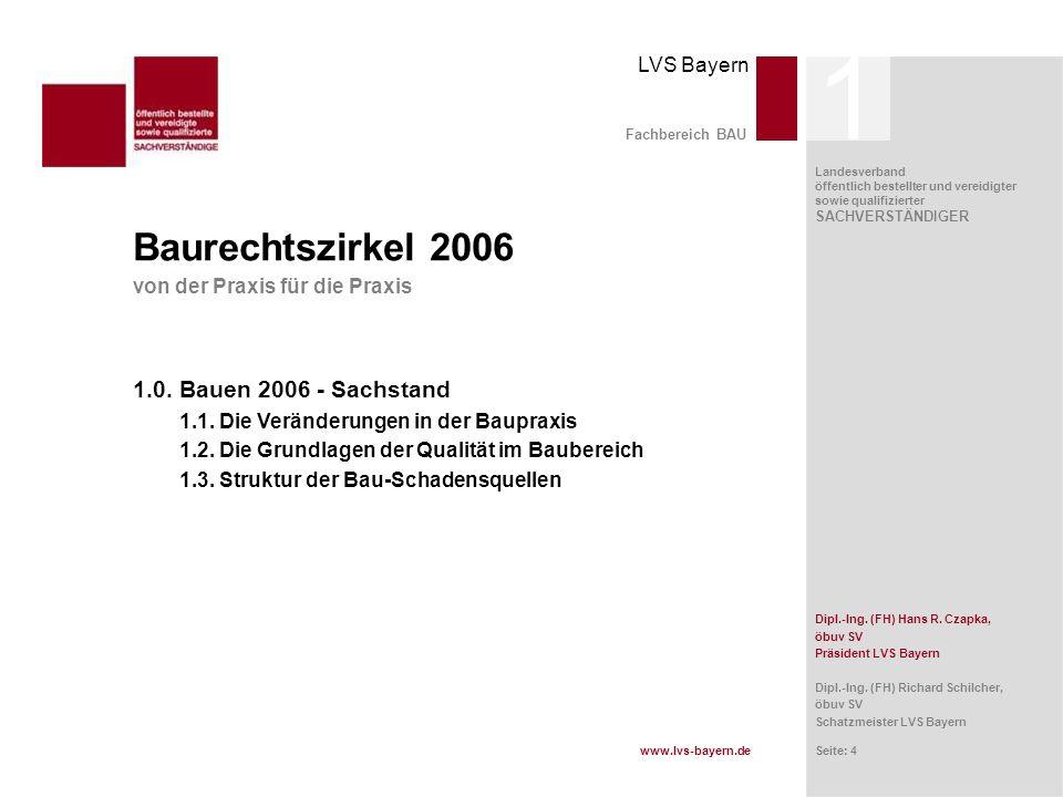 1 Baurechtszirkel 2006 1.0. Bauen 2006 - Sachstand