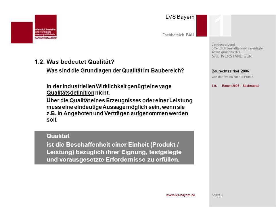 1 Fachbereich BAU. 1.2. Was bedeutet Qualität Was sind die Grundlagen der Qualität im Baubereich
