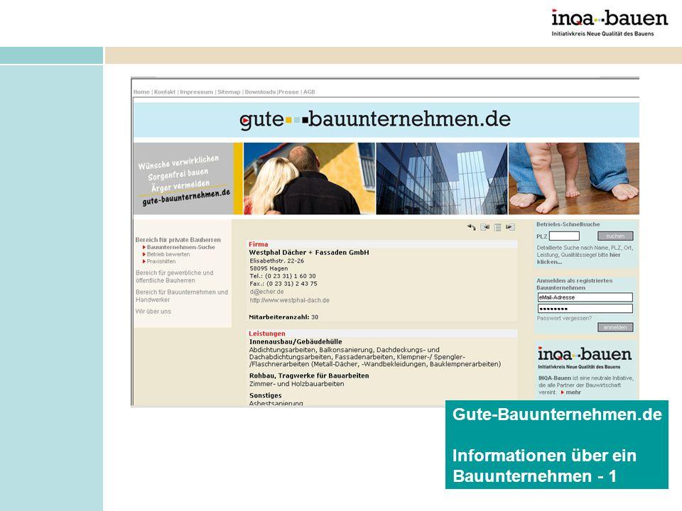 Informationen über ein Bauunternehmen - 1