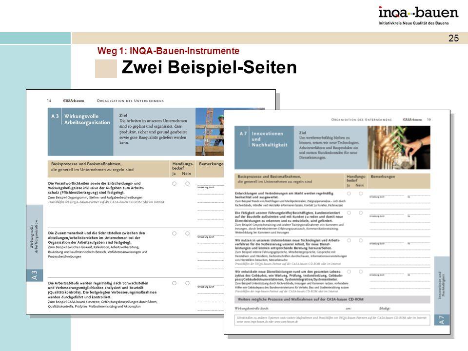 Zwei Beispiel-Seiten 25 Weg 1: INQA-Bauen-Instrumente