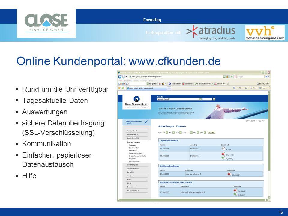 Online Kundenportal: www.cfkunden.de