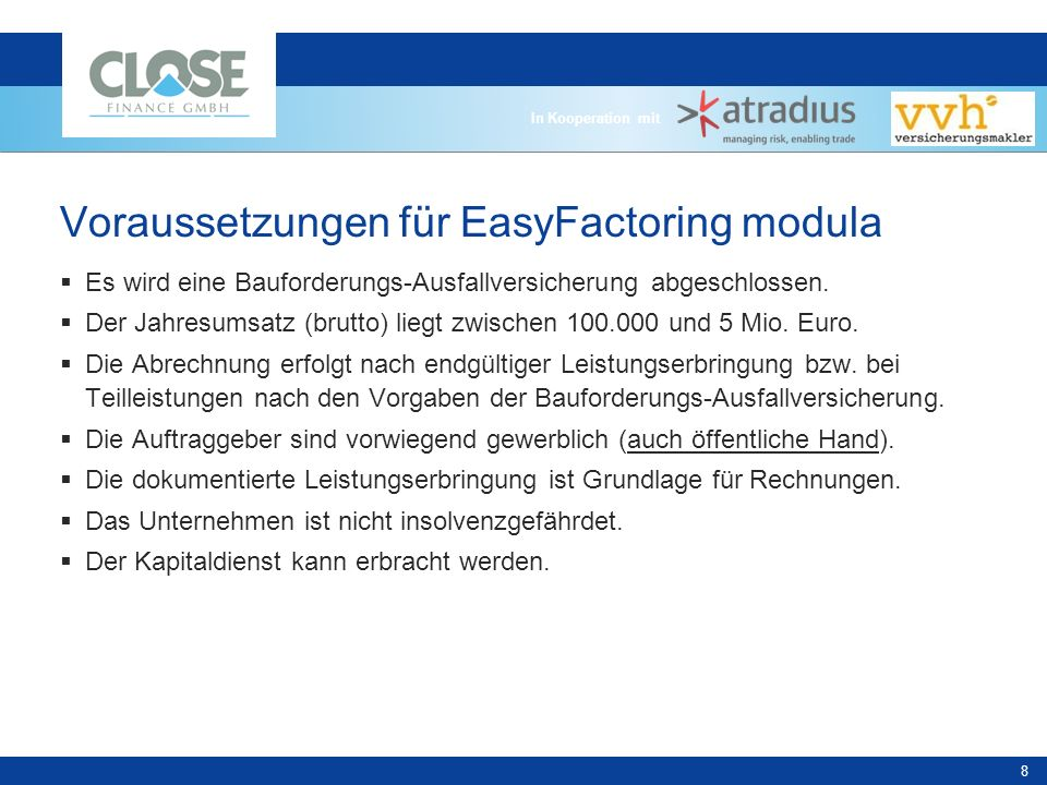 Voraussetzungen für EasyFactoring modula